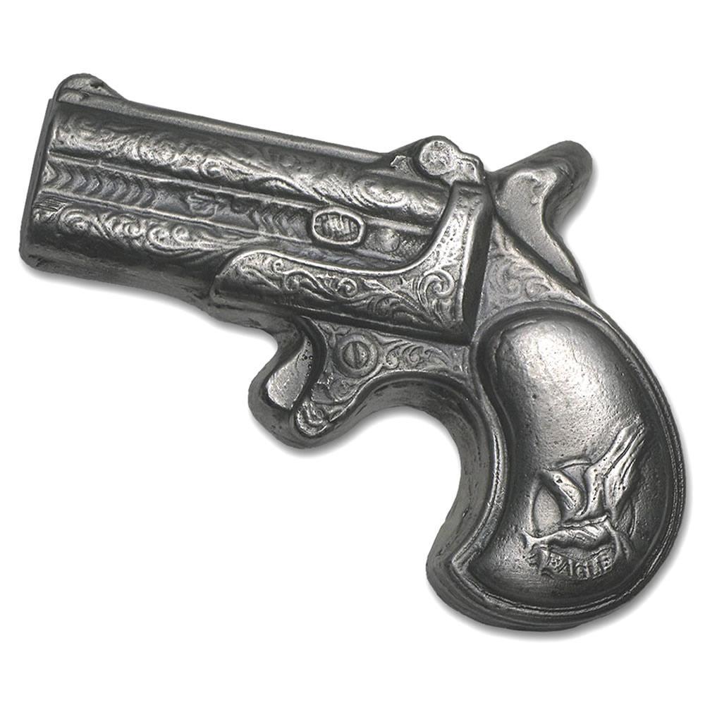 Hand Poured Silver Derringer Pistol 7 oz (Miniature Size) #PAPPS49210