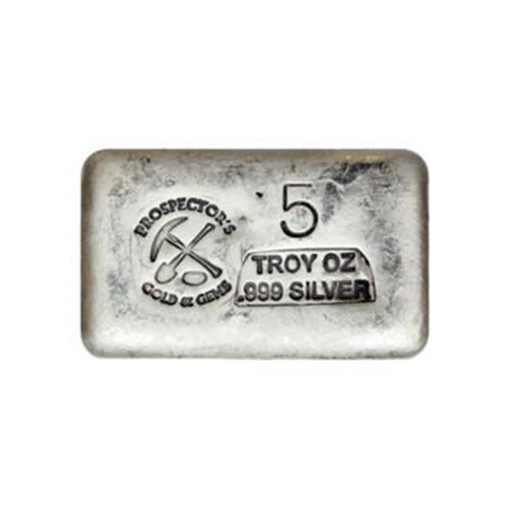 Prospectors Gold And Gems Silver Bar 5 Ounce .999 Fine #PAPPS49190