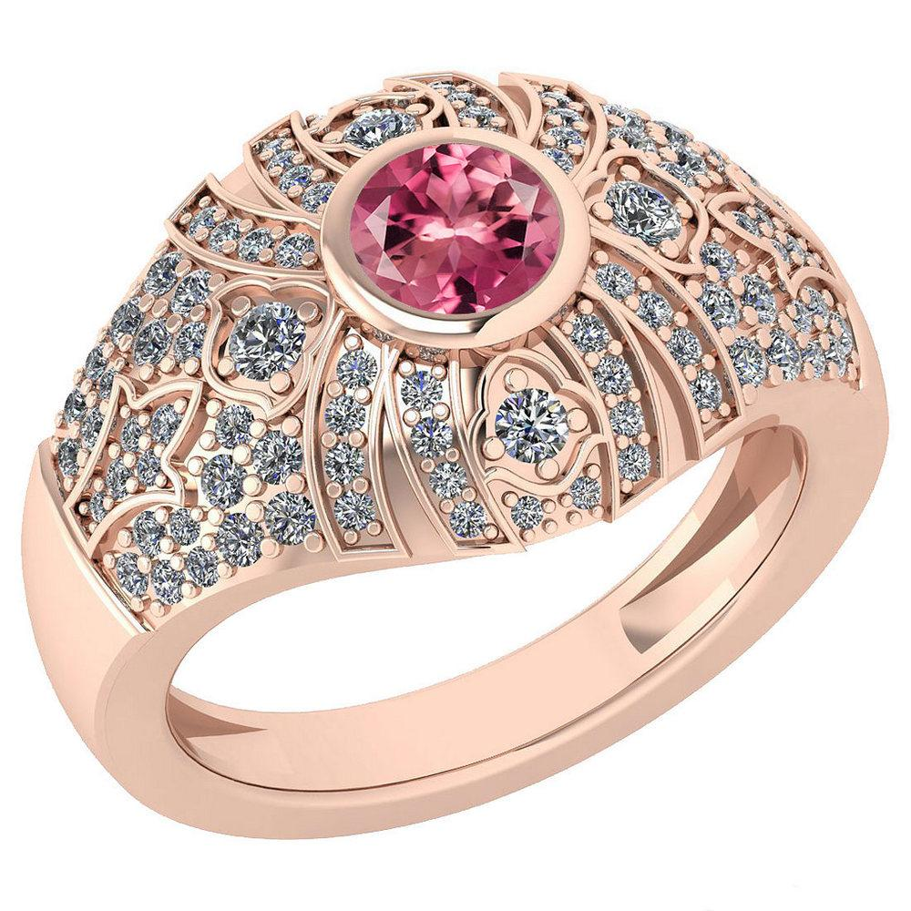 Certified 1.04 Ctw Pink Tourmaline And Diamond Ladies Fashion Halo Ring 14K Rose Gold (VS/SI1) MADE IN USA #PAPPS21074