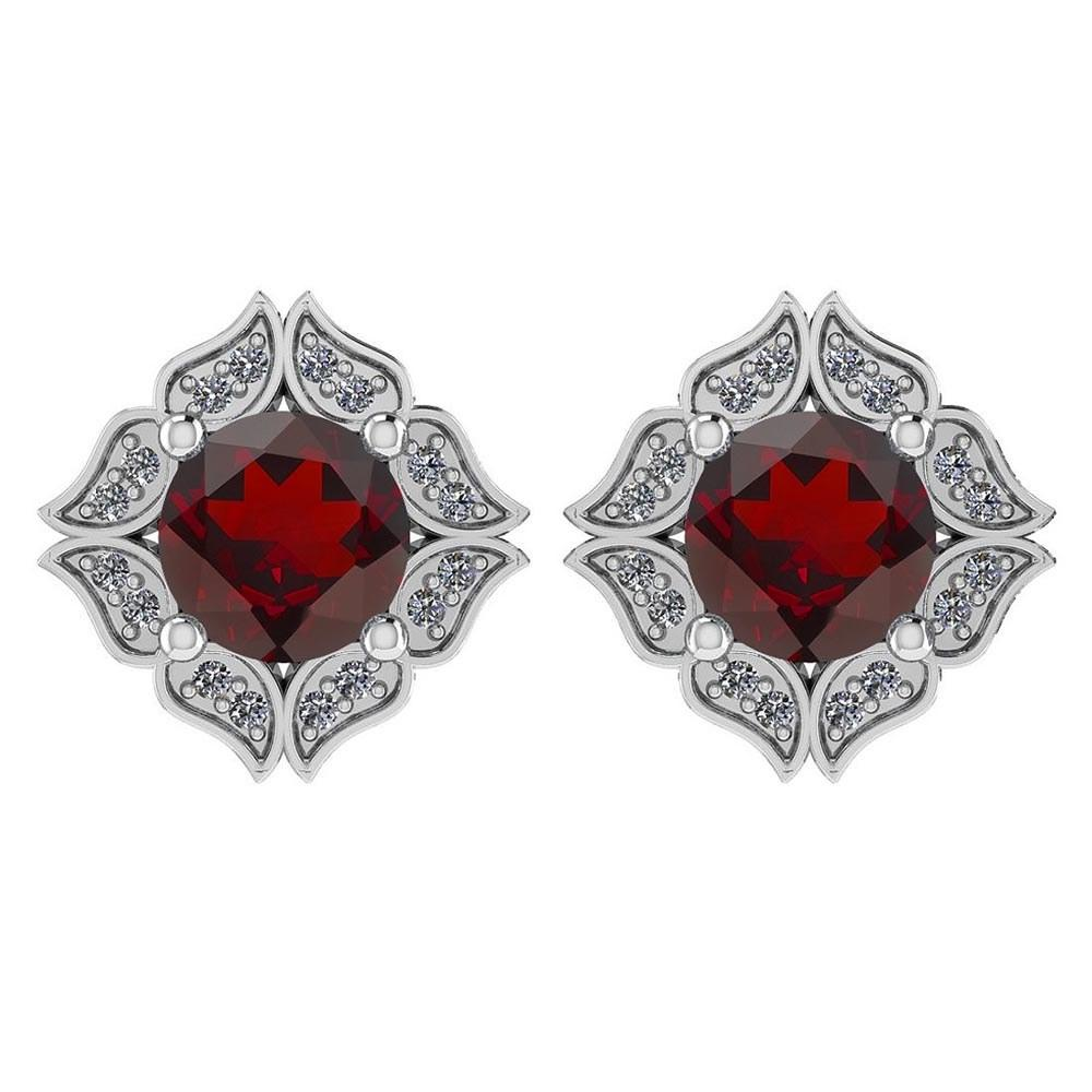 Certified .98 Ctw Genuine Garnet And Diamond 14k White Gold Halo Stud Earrings #PAPPS94525