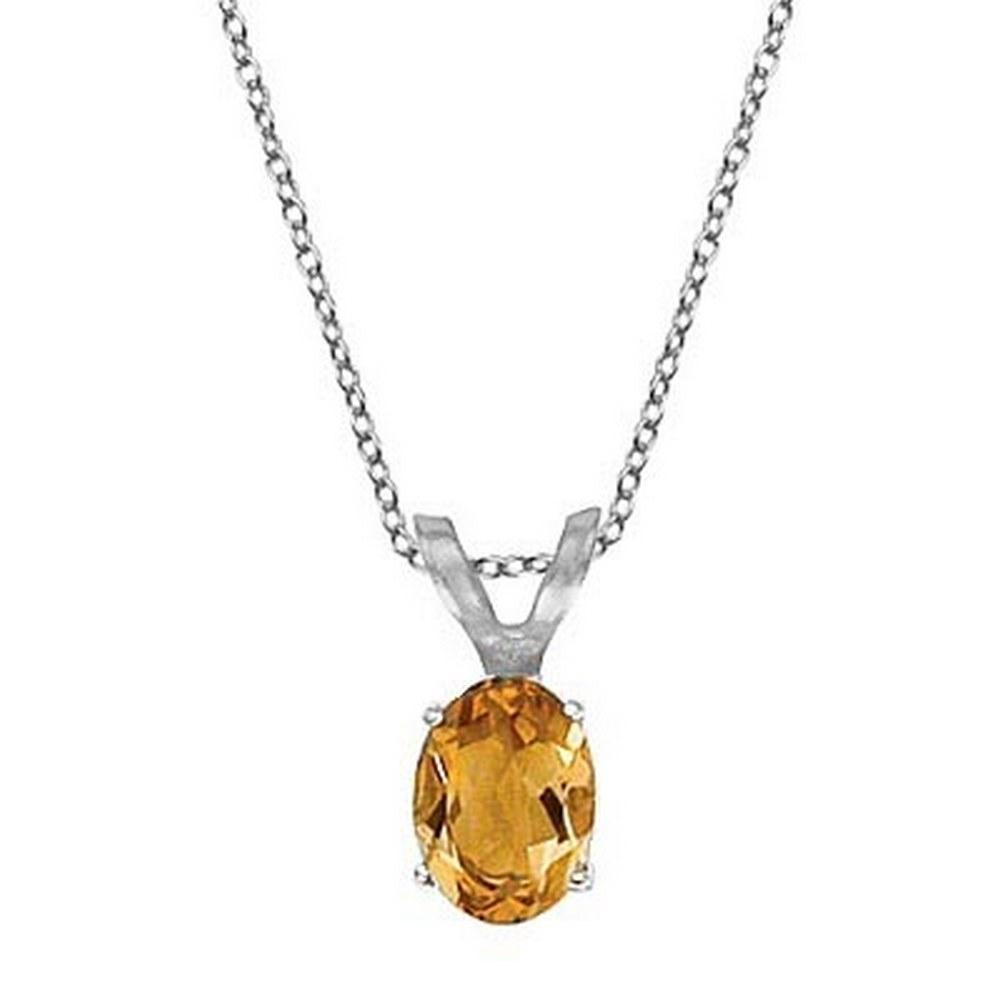 Oval Citrine Solitaire Pendant Necklace 14K White Gold (8x6mm) #PAPPS52079