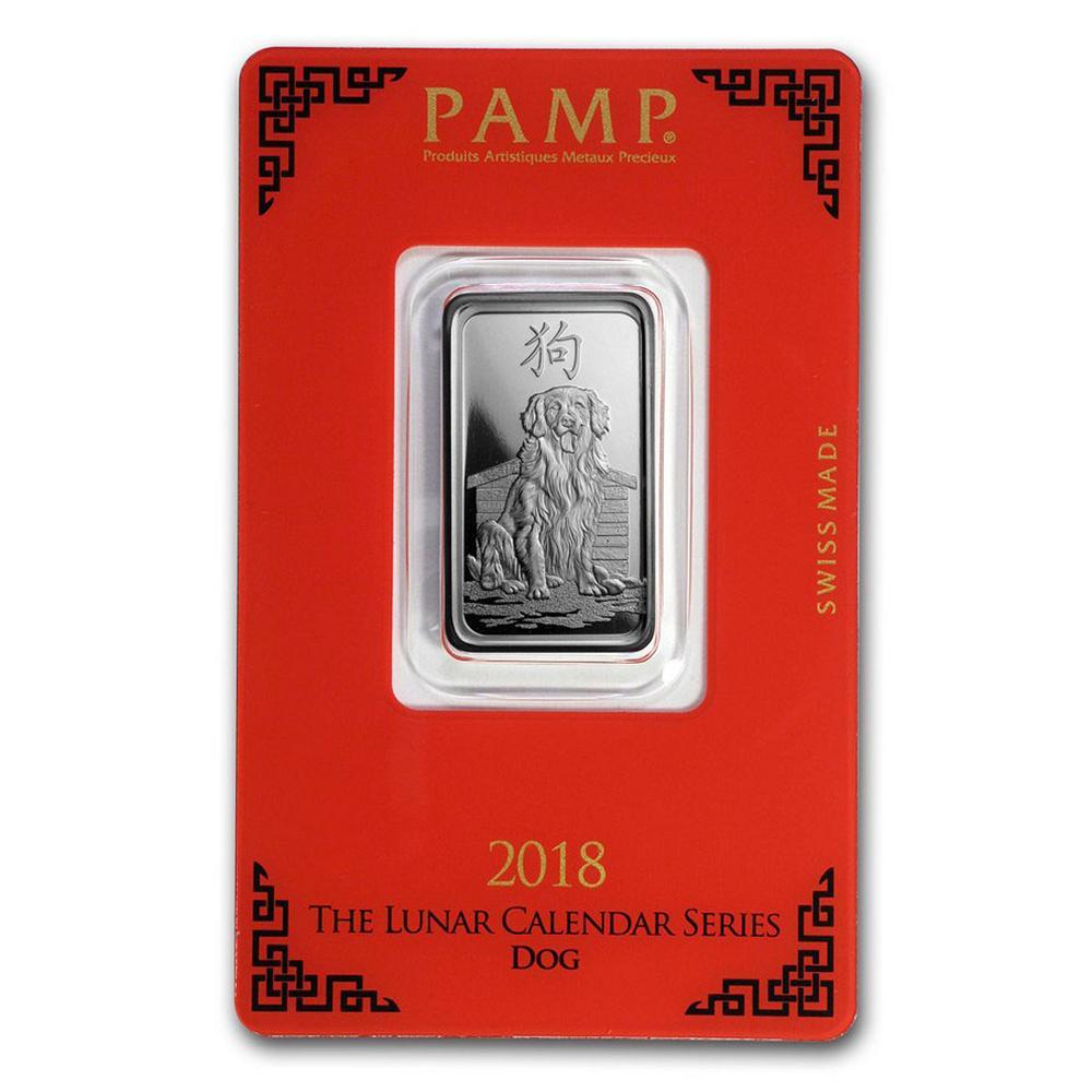 PAMP Suisse Silver Bar 10 Gram - 2018 Dog Design #PAPPS49245