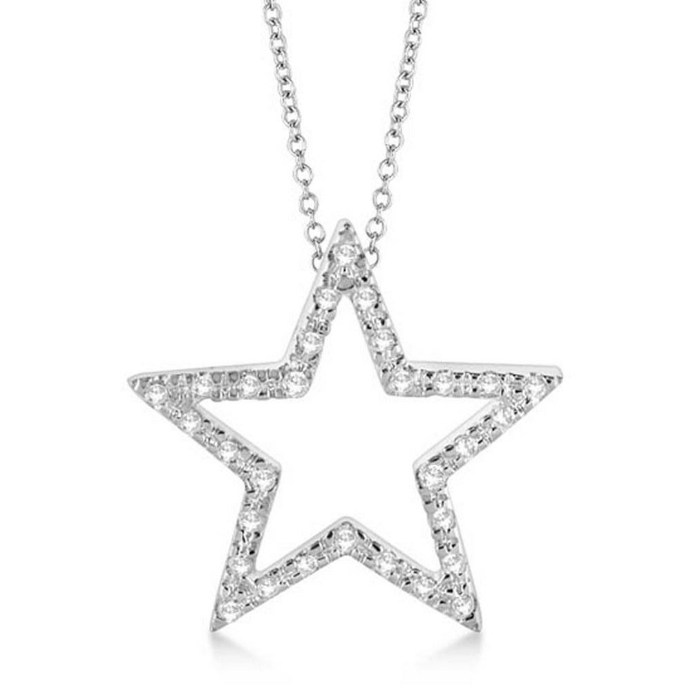 Star Shaped Diamond Pendant Necklace 14k White Gold (0.10ct) #PAPPS20793