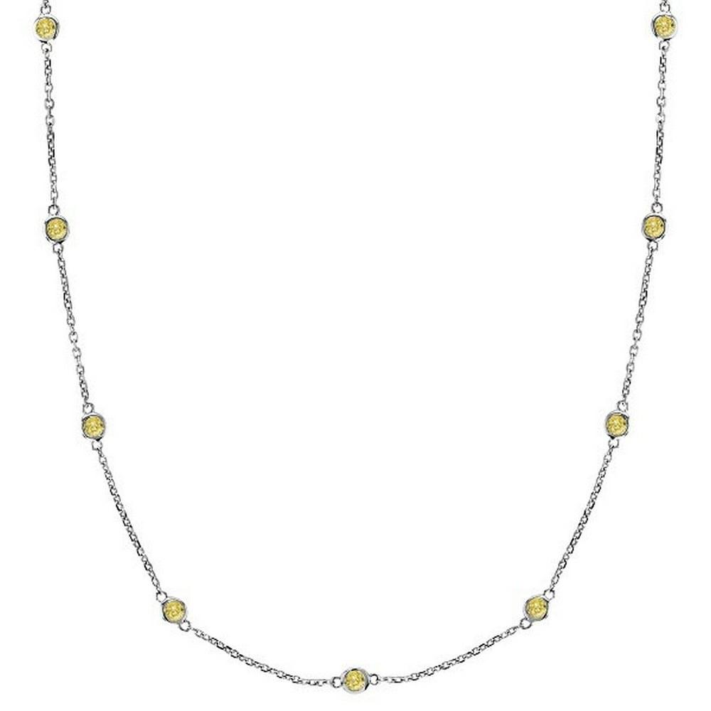 Fancy Yellow Canary Diamonds by The Yard Necklace 14k White Gold (0.33ct) #PAPPS52511