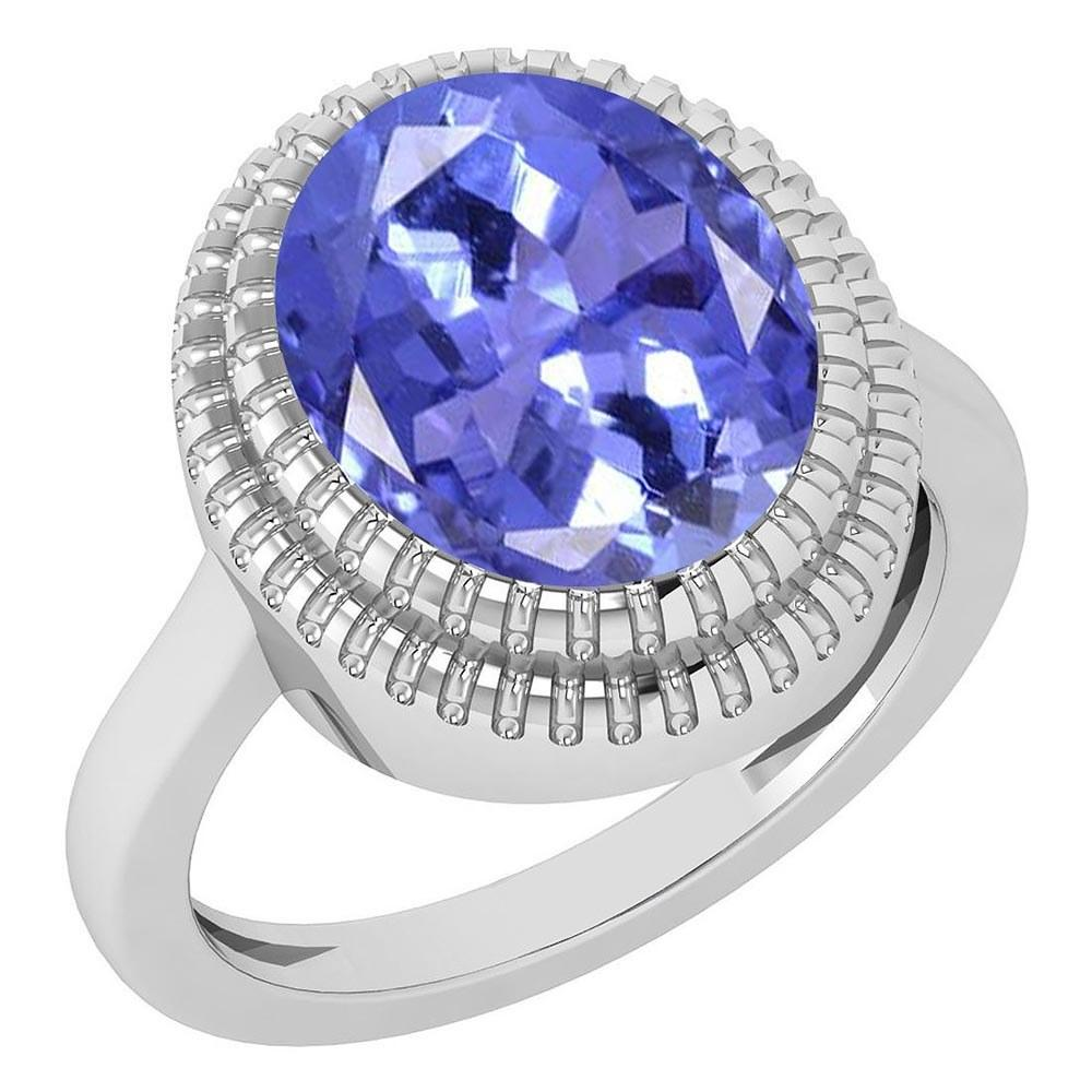 Certified 5.05 Ctw Tanzanite 14K White Gold Solitaire Ring #PAPPS21690