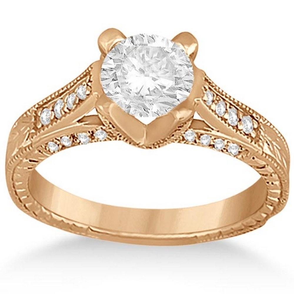 Antique Style Diamond Engagement Ring 14k Rose Gold (0.90ct) #PAPPS21232