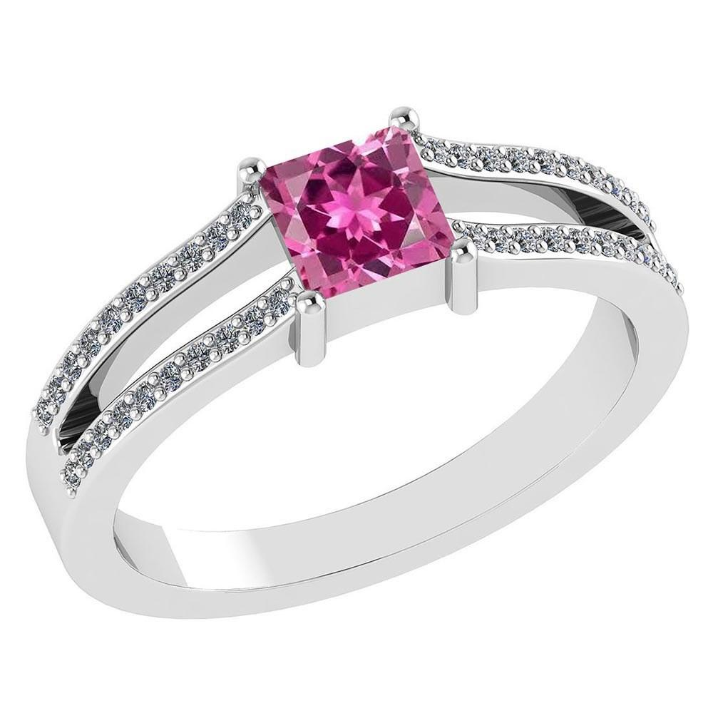 Certified .70 CTW Genuine Pink Tourmaline And Diamond (G-H/SI1-SI2) 14K White Gold Promise Ring #PAPPS93056