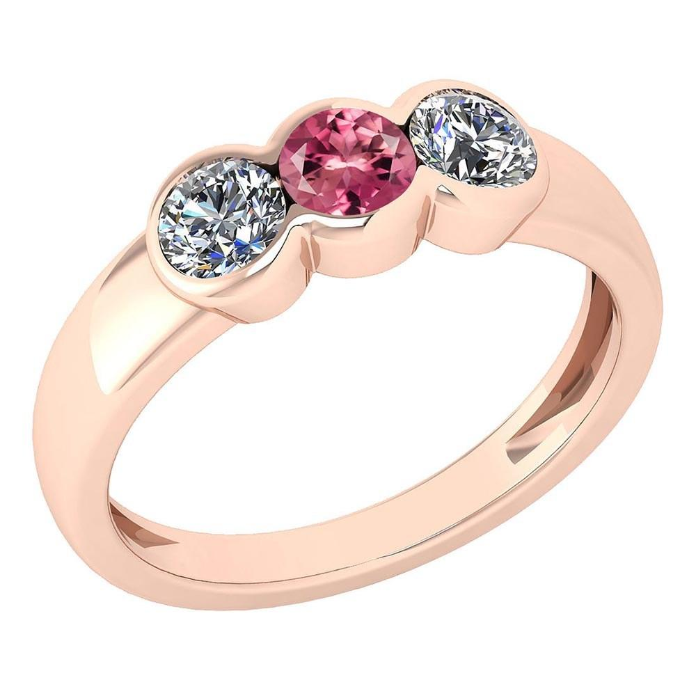 Certified 0.75 Ctw Pink Tourmaline And Diamond Ladies Fashion Halo Ring 14k Rose Gold (VS/SI1) MADE IN USA #PAPPS20900