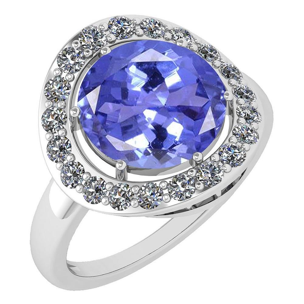 Certified 4.08 Ctw Tanzanite And Diamond Halo Ring 14K White Gold #PAPPS21708