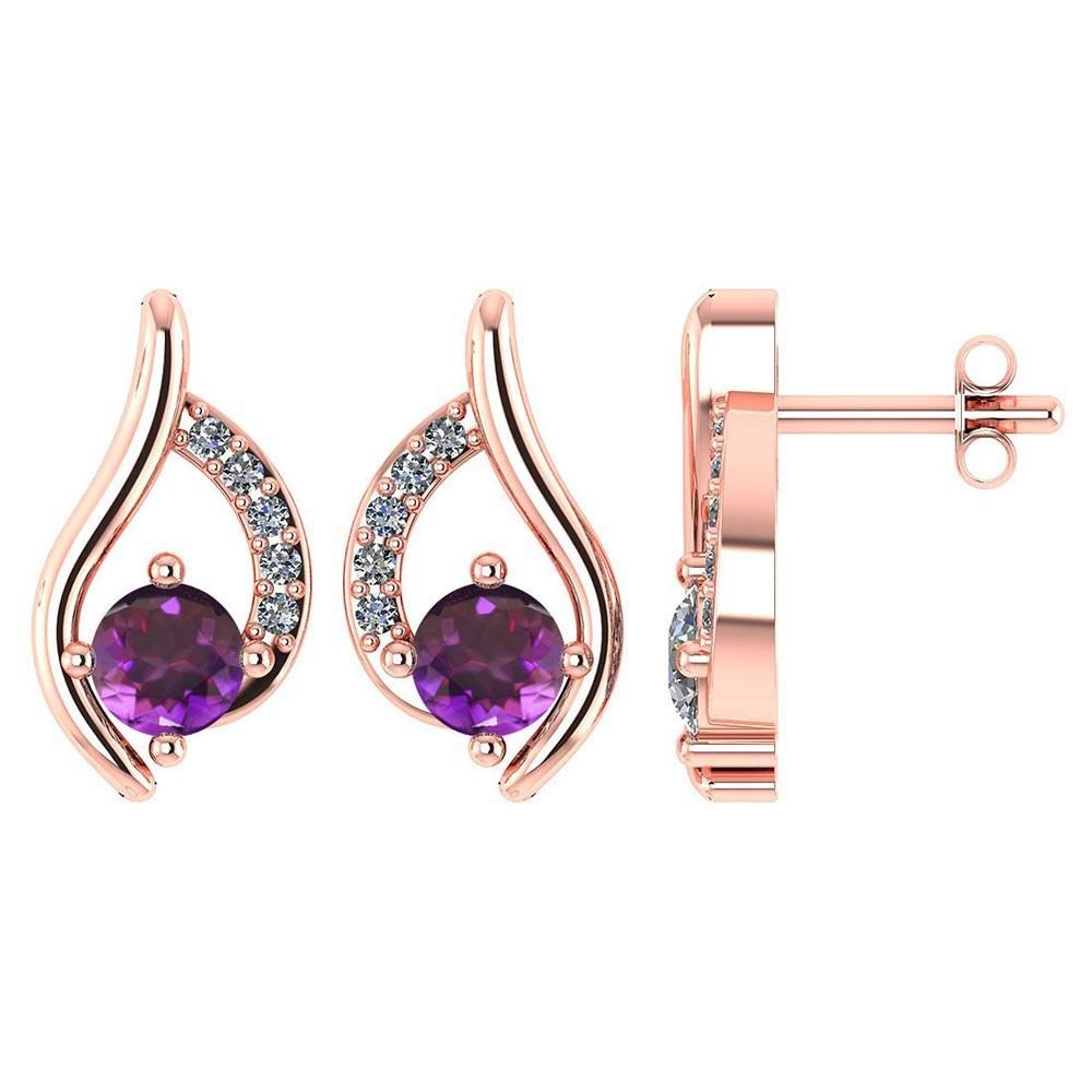 Certified .51 CTW Genuine Amethyst And Diamond (G-H/SI1-SI2) 14K Rose Gold Stud Earring #PAPPS93025