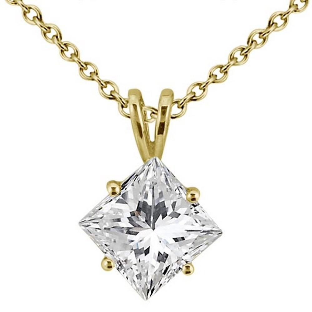 1.00ct. Princess-Cut Diamond Solitaire Pendant in 18k Yellow Gold (H VS2) #PAPPS51846