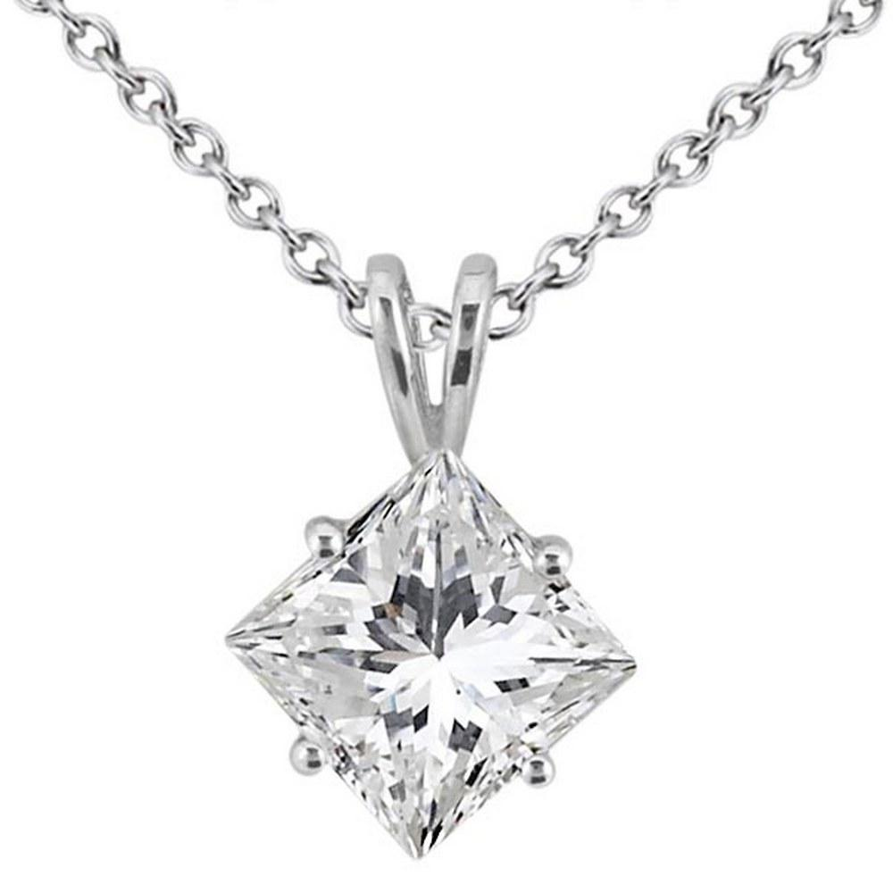 1.00ct. Princess-Cut Diamond Solitaire Pendant in 14K White Gold (I SI2-SI3) #PAPPS51864