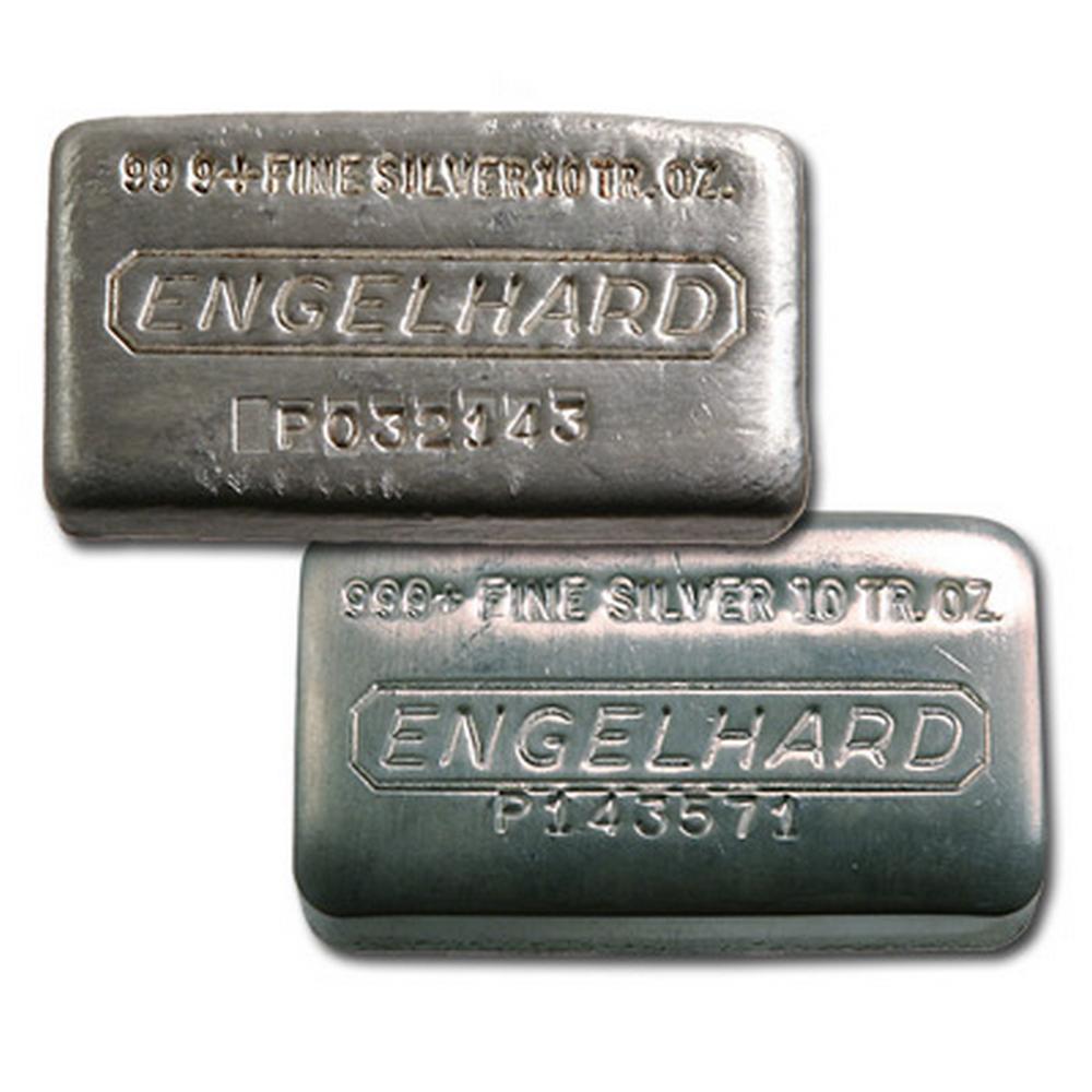 Engelhard Silver Bar 10 oz Bar - Wide Poured #PAPPS49260