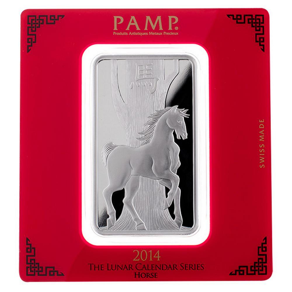 PAMP Suisse Silver Bar 100 Gram - 2014 Horse Design #PAPPS49256