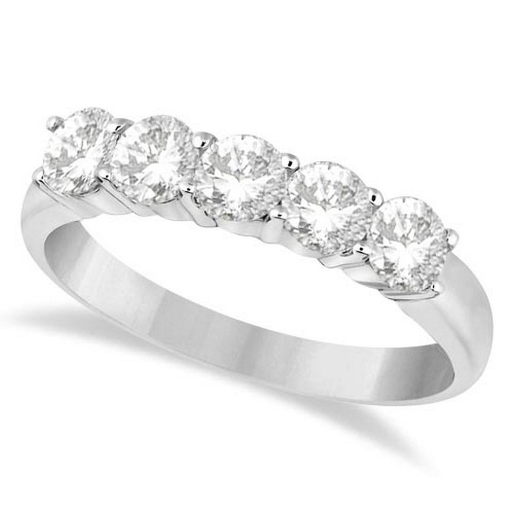 Five Stone Diamond Ring Anniversary Band Platinum (1.00ctw) #PAPPS21161