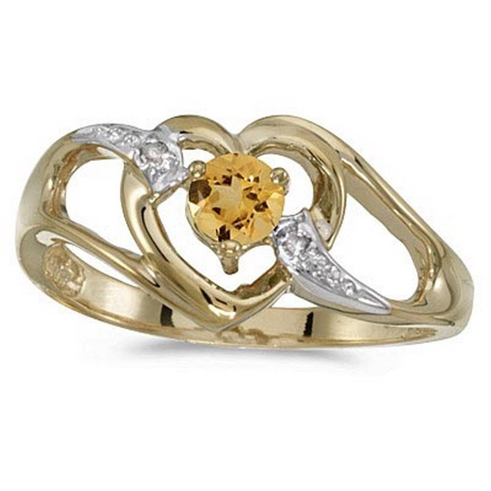 Citrine and Diamond Heart Right-Hand Ring in 14k Yellow Gold (0.20ct) #PAPPS52094