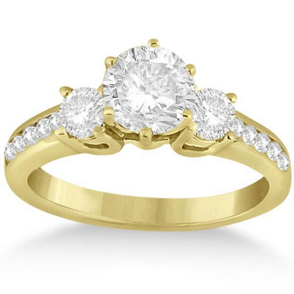 Three-Stone Diamond Engagement Ring in 14k Yellow Gold (1.35 ctw) #PAPPS51709