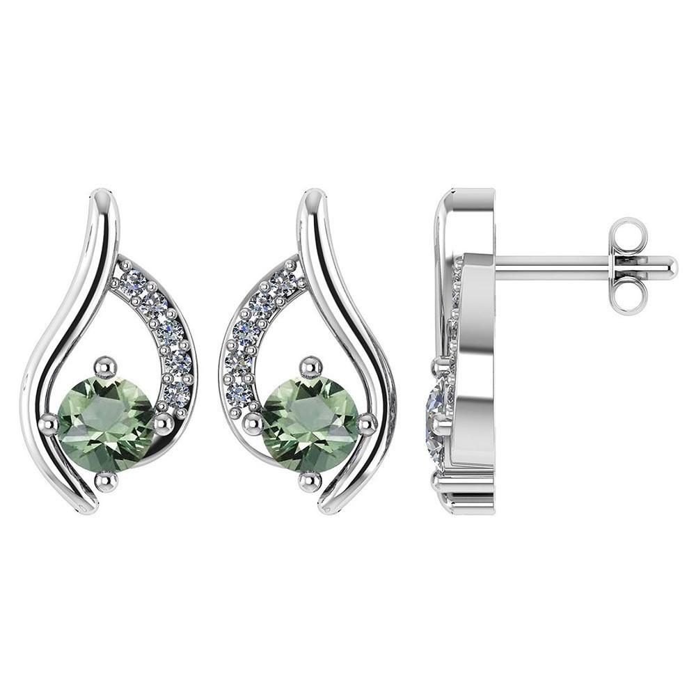 Certified .51 CTW Genuine Green Amethyst And Diamond (G-H/SI1-SI2) 14K White Gold Stud Earring #PAPPS93048