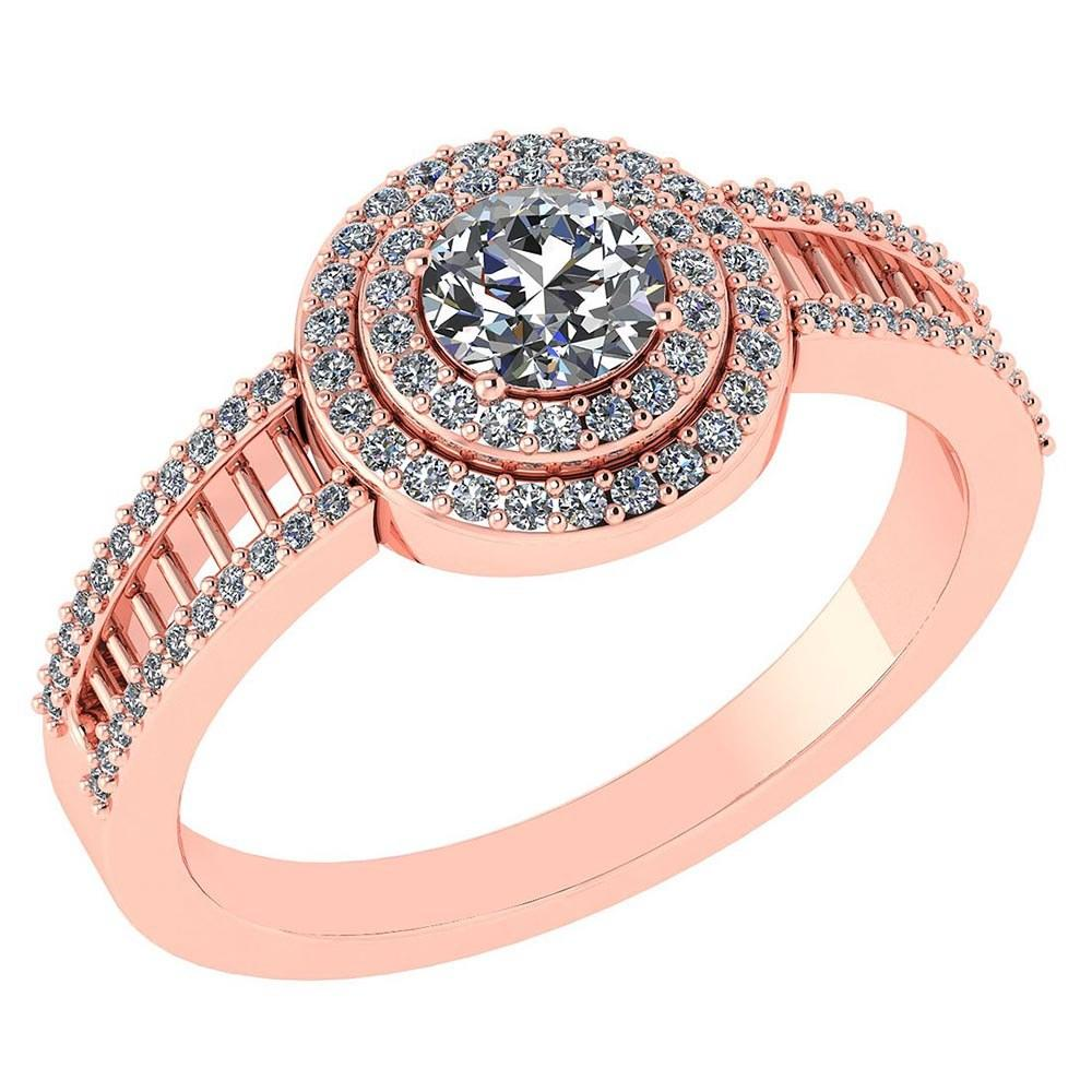 0.78 Ctw Diamond 14k Rose Gold Halo Ring VS/SI1 #PAPPS96933