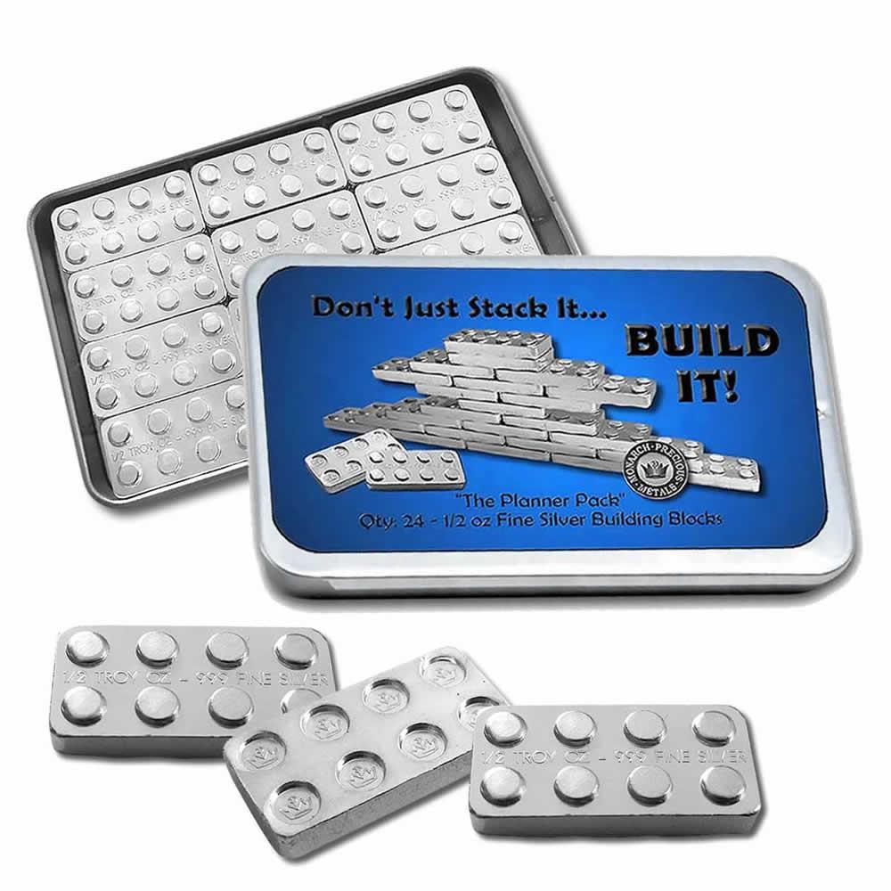 1/2 oz Silver Building Block Bar - 24pc. Set #PAPPS49173