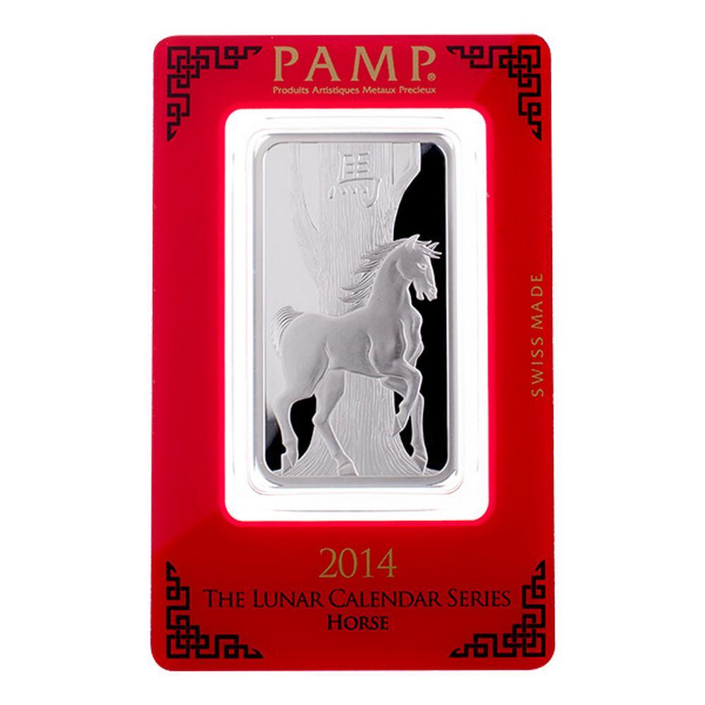 PAMP Suisse Silver Bar 1 oz - 2014 Horse Design #PAPPS49187