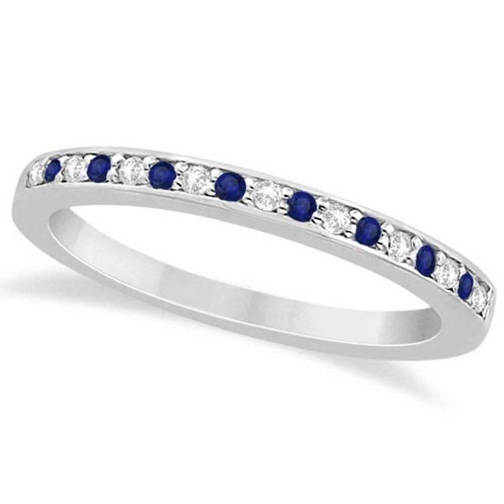 Cathedral Blue Sapphire and Diamond Wedding Band 14k White Gold 0.29ct #PAPPS21300