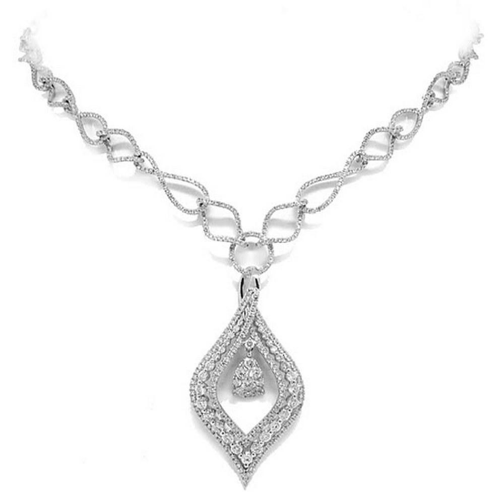 4.08ct 14k White Gold Diamond Necklace #PAPPS69367