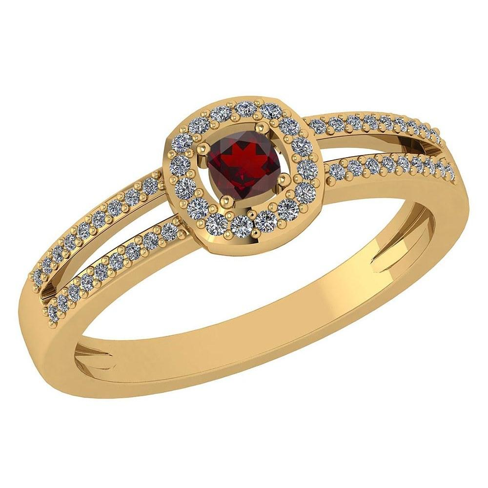 Certified 0.57 Ctw Garnet And Diamond 18k Yellow Gold Halo Ring (VS/SI1) MADE IN USA #PAPPS20681