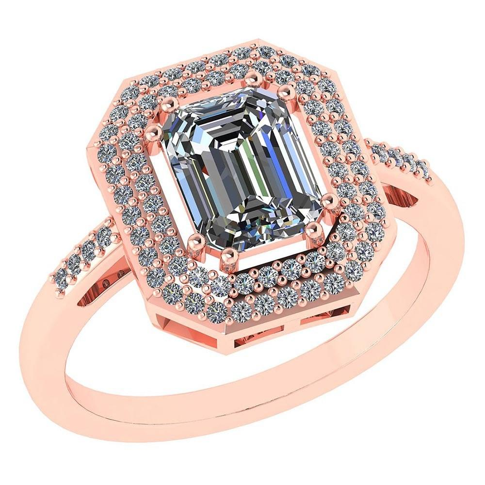 1.12 Ctw Diamond 14k Rose Gold Halo Ring #PAPPS96021