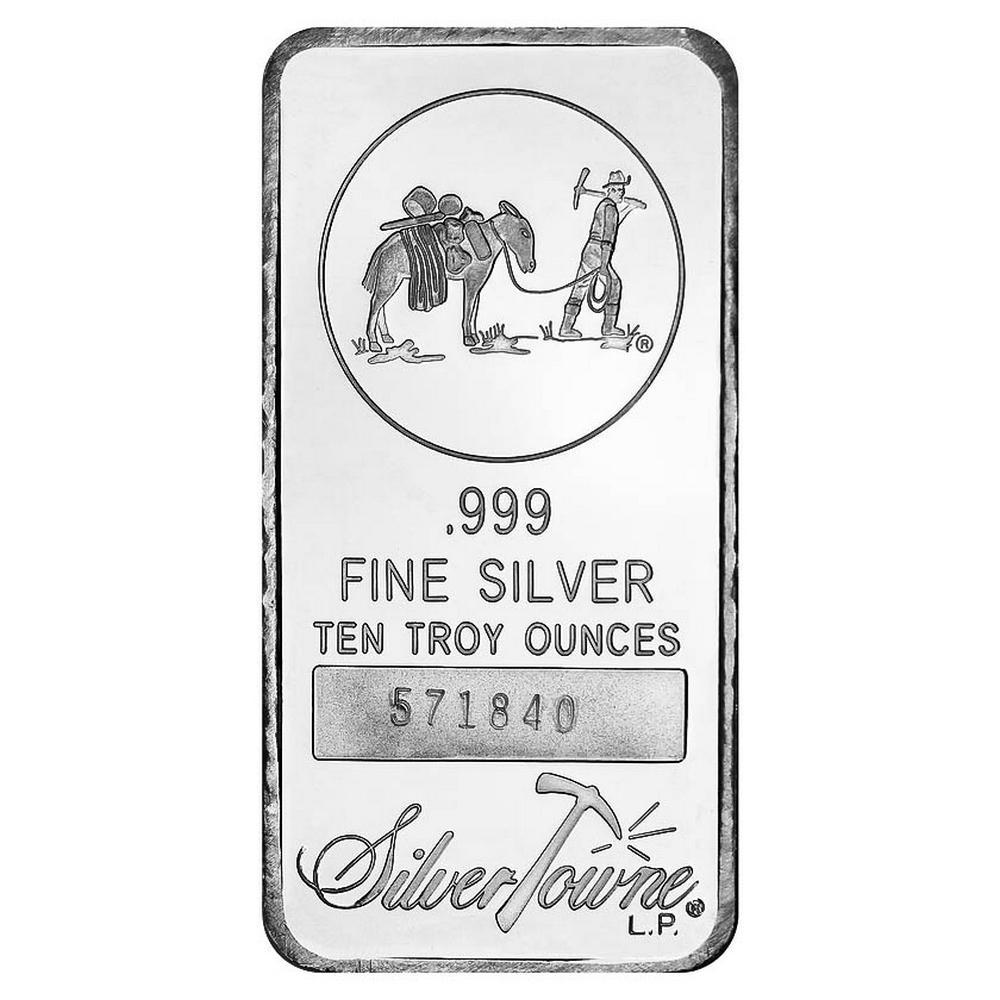 SilverTowne 10 oz Silver Bar - Prospector Design #PAPPS49272