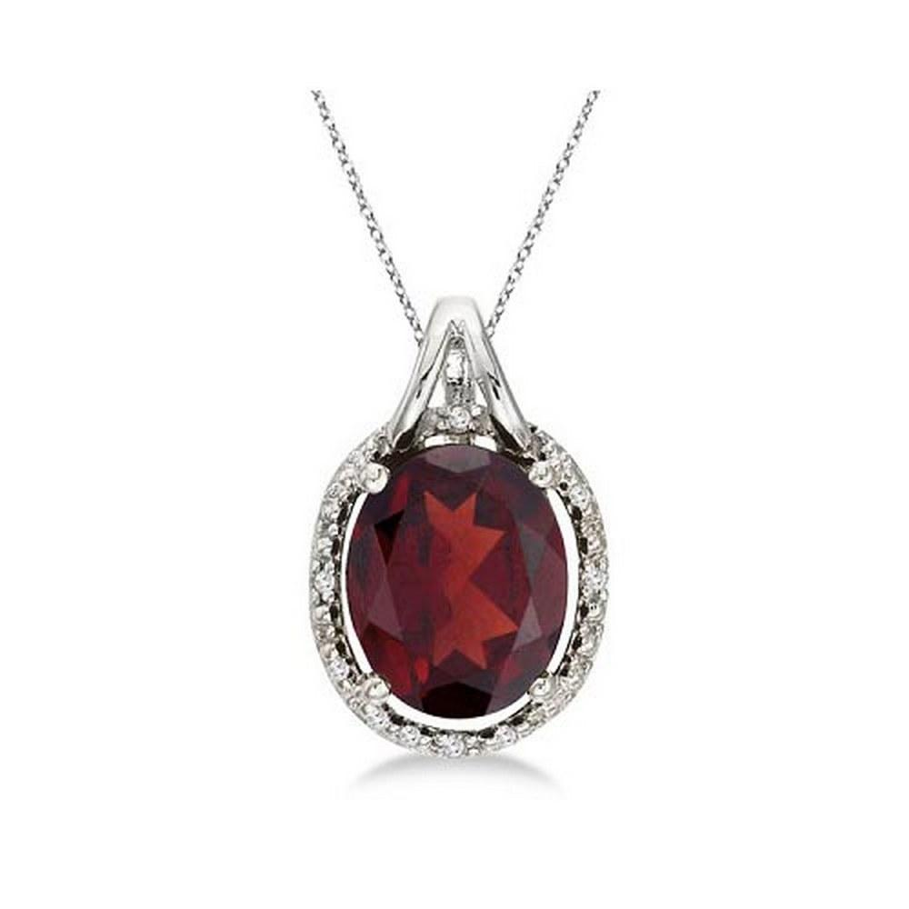 Oval Garnet and Diamond Pendant Necklace 14k White Gold (3.00ct) #PAPPS52300
