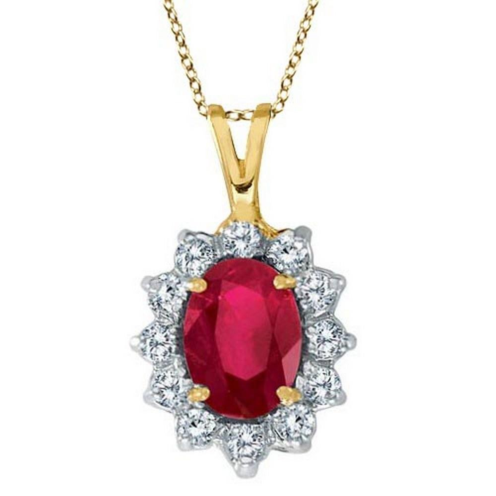 Ruby and Diamond Accented Pendant Necklace 14k Yellow Gold (1.80ctw) #PAPPS20504