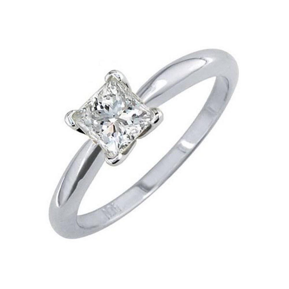 Certified 0.7 CTW Princess Diamond Solitaire 14k Ring F/SI2 #PAPPS84389