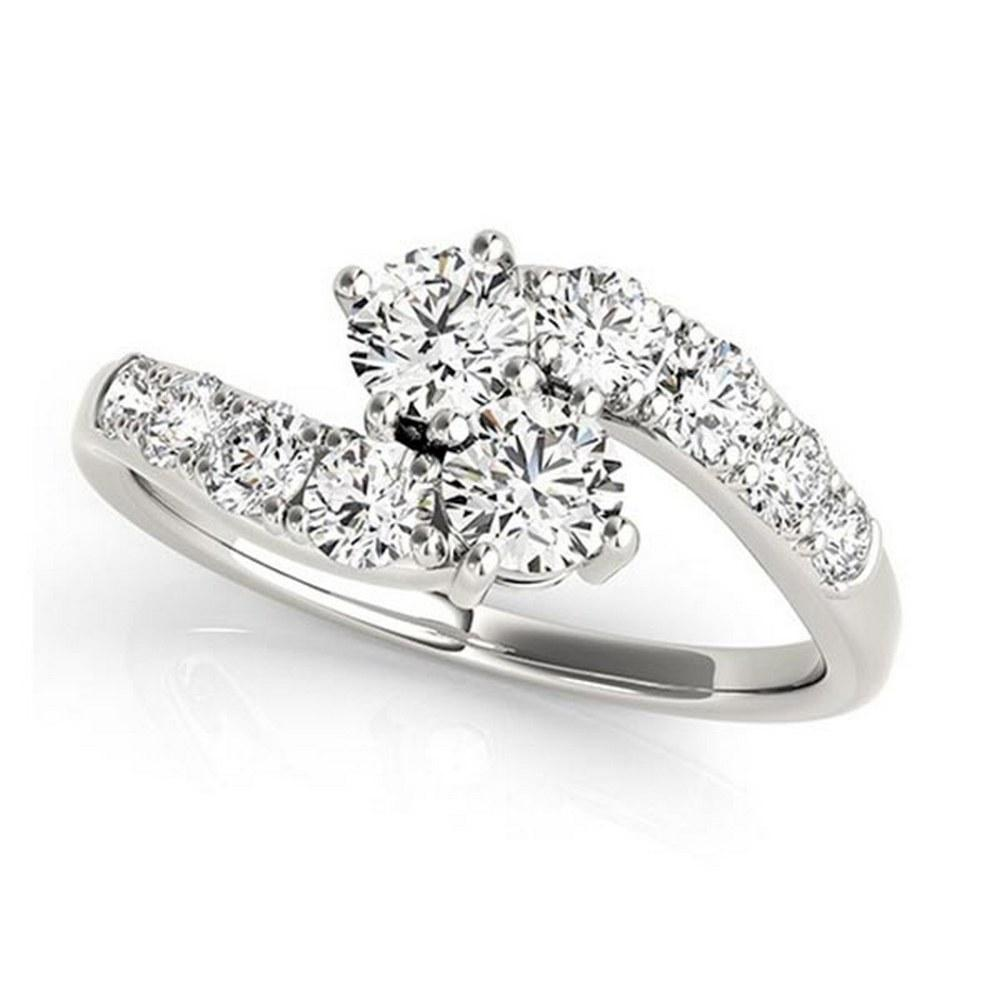 Diamond Accented Contoured Two Stone Ring 14k White Gold (1.25ct) #PAPPS21309