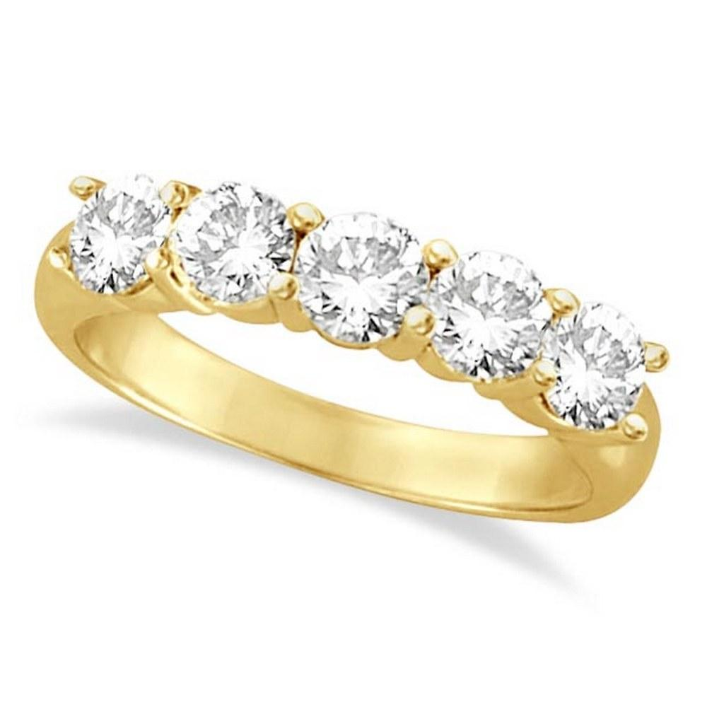 Five Stone Diamond Ring Anniversary Band 14k Yellow Gold (1.50 ctw) #PAPPS20401