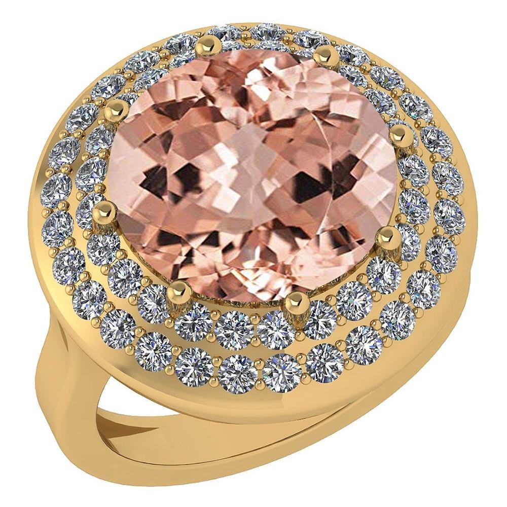 Certified 7.30 Ctw Morganite And Diamond Halo Ring 14K Yellow Gold #PAPPS21685
