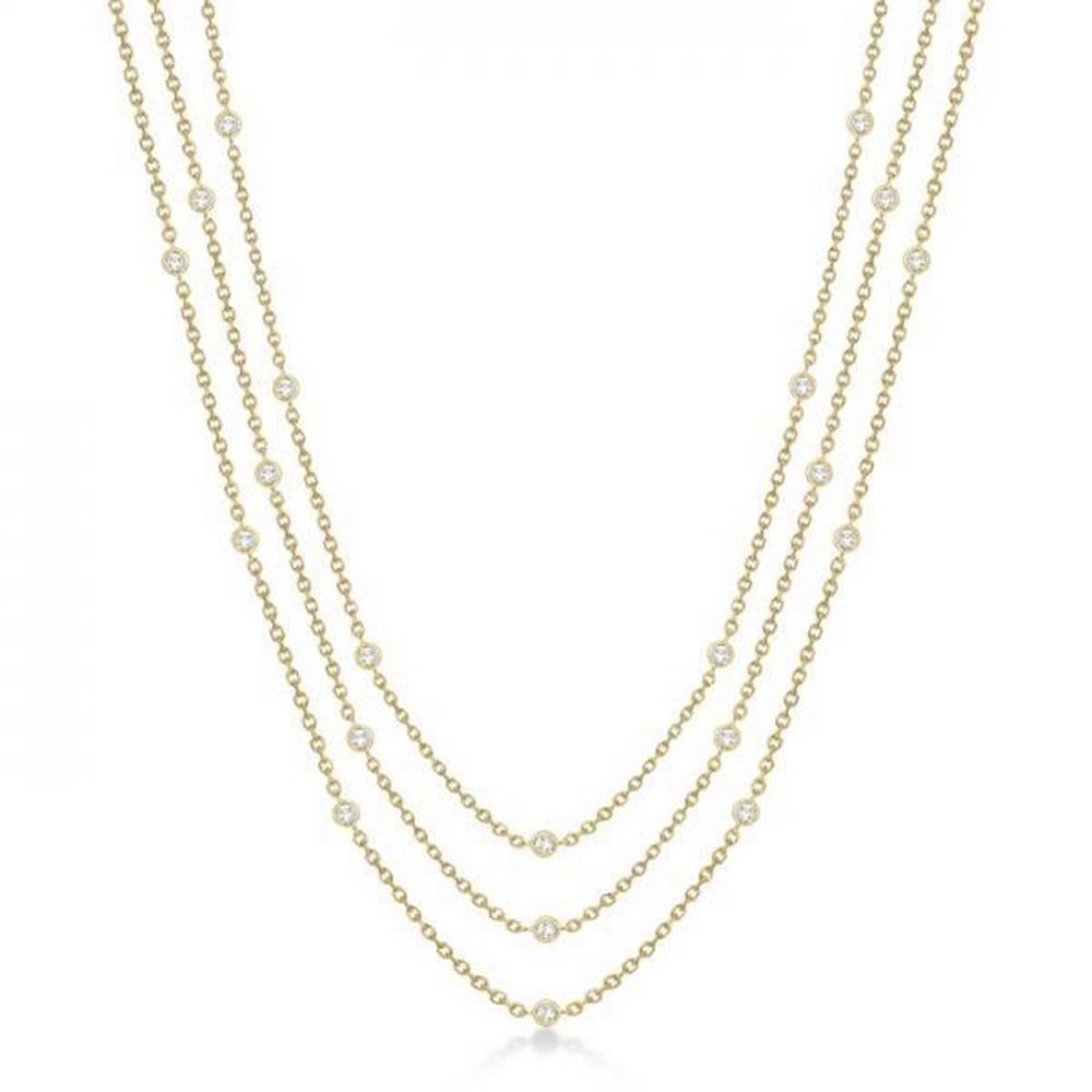 Three-Strand Diamond Station Necklace in 14k Yellow Gold (3.01ct) #PAPPS68588