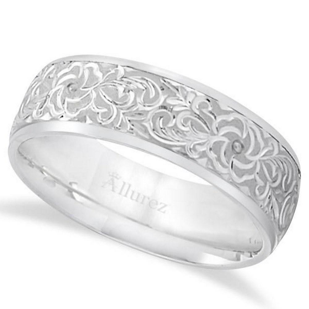 Hand-Engraved Flower Wedding Ring Wide Band Platinum #PAPPS21284