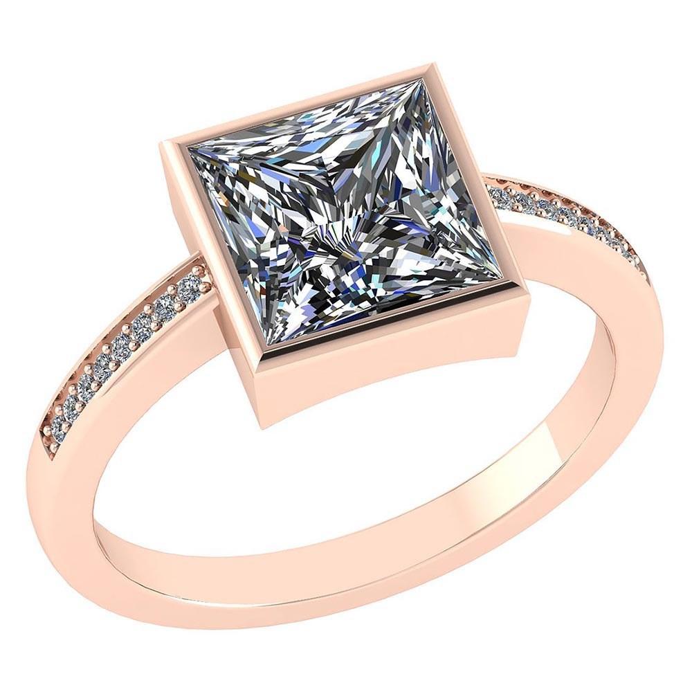 Certified 1.00 CTW Princess Diamond 14K Rose Gold Ring #PAPPS92273