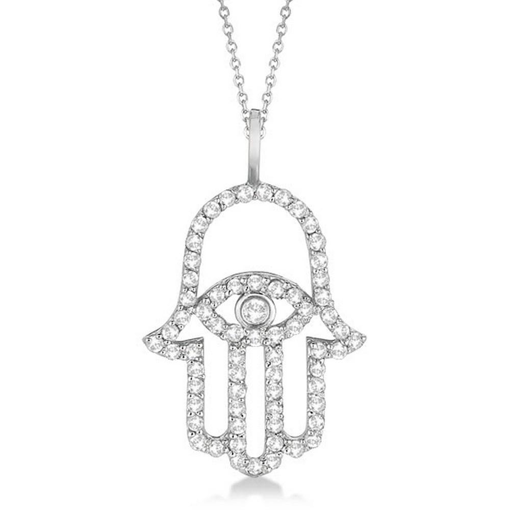 Diamond Hamsa Evil Eye Pendant Necklace 14k White Gold (0.51ct) #PAPPS21012