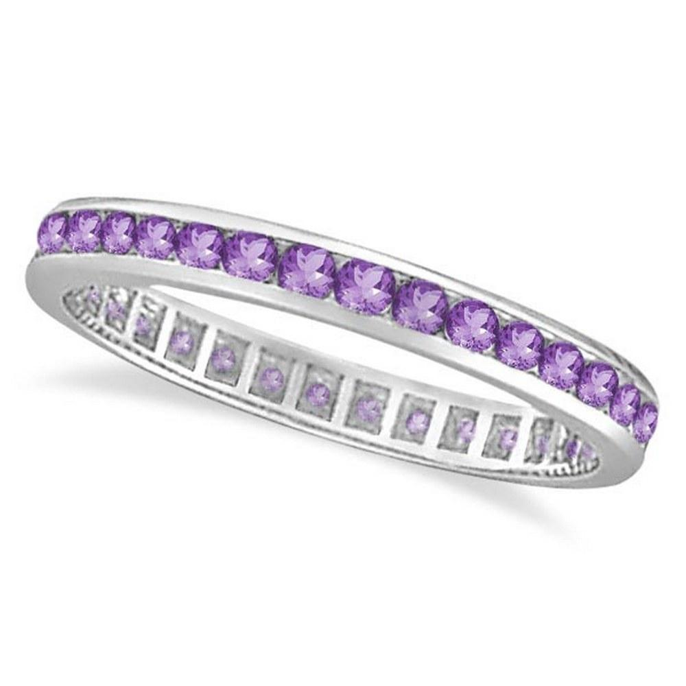 Amethyst Channel Set Eternity Ring Band 14k White Gold (1.00ct) #PAPPS20908
