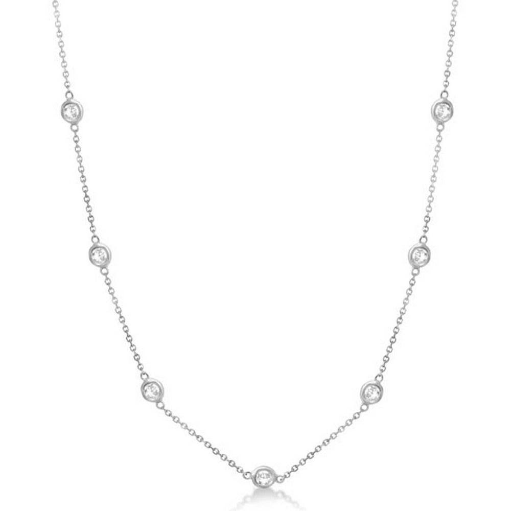 Diamond Station Necklace Bezel-Set 14K White Gold (0.76ct) #PAPPS21038