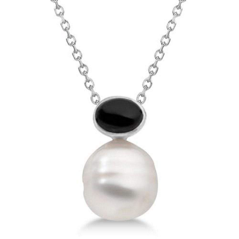 Black Onyx and South Sea Circle Pearl Pendant 14K White Gold 11mm #PAPPS69009