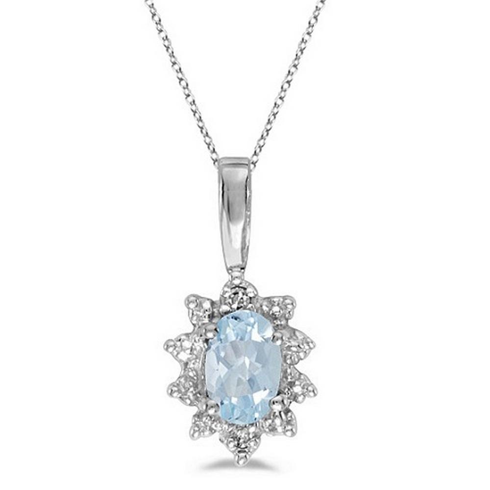 Aquamarine and Diamond Flower Shaped Pendant Necklace 14k White Gold #PAPPS53013