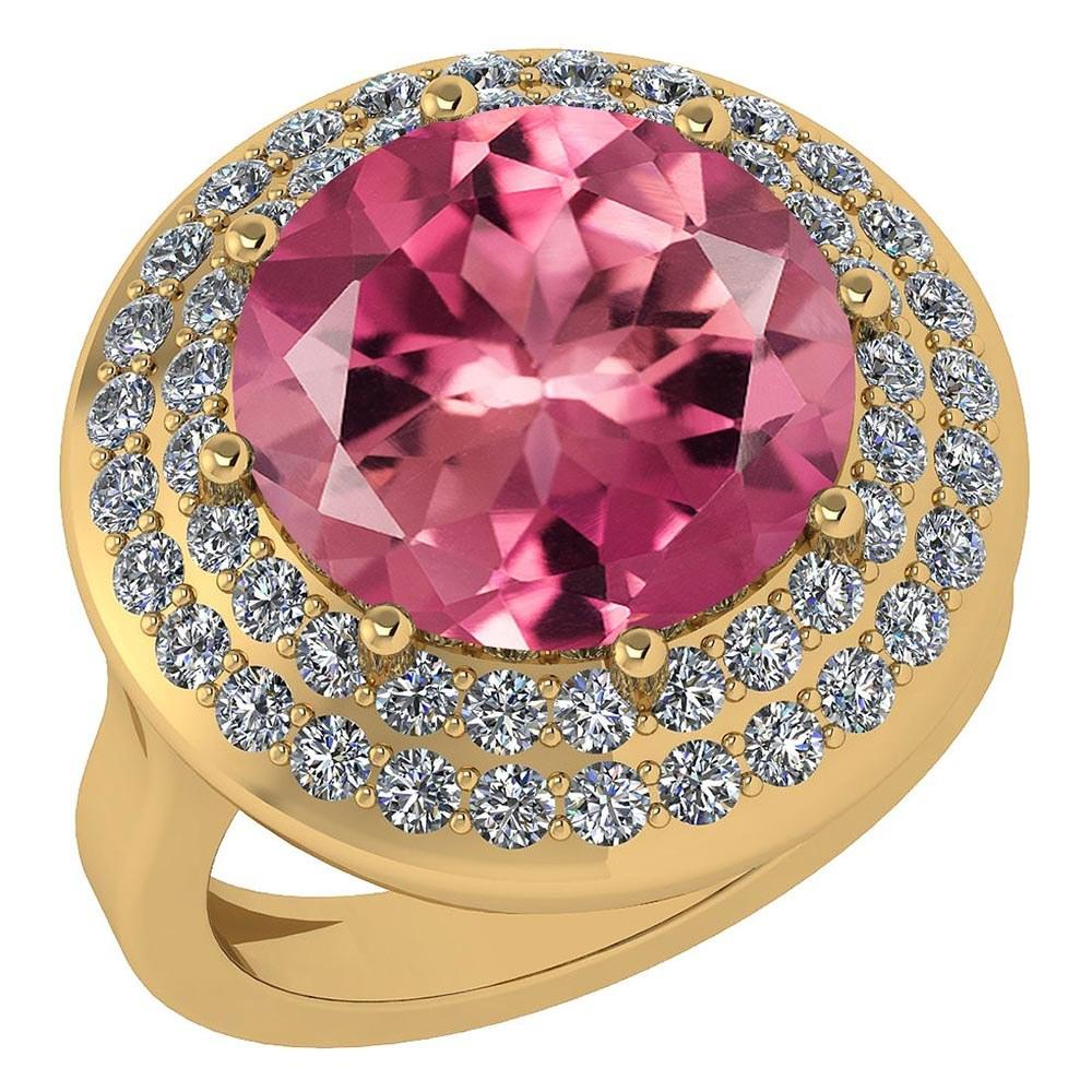 Certified 7.30 Ctw Pink Tourmaline And Diamond Halo Ring 14K Yellow Gold #PAPPS21681