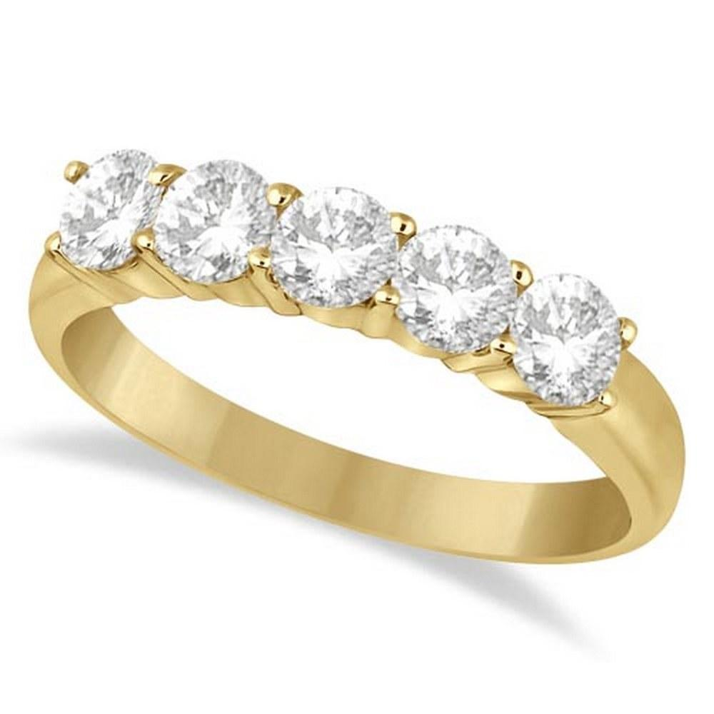 Five Stone Diamond Ring Anniversary Band 14k Yellow Gold (1.00ctw) #PAPPS52255