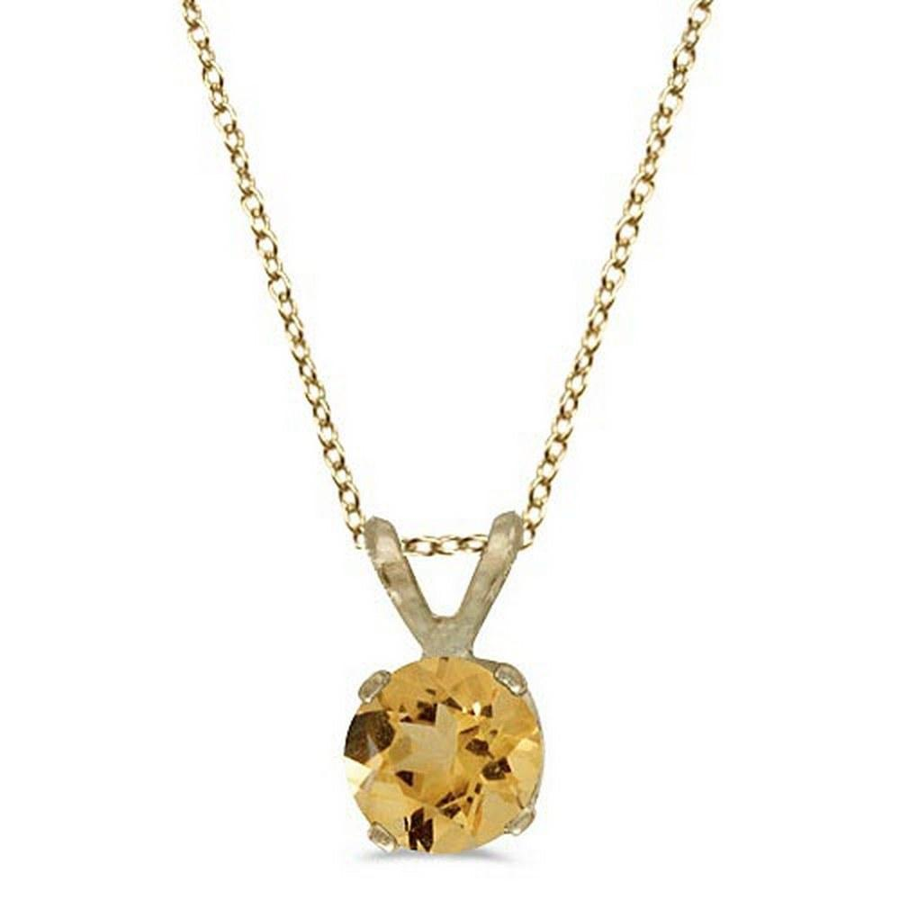 Round Citrine Solitaire Pendant Necklace 14K Yellow Gold (0.40ct) #PAPPS52055