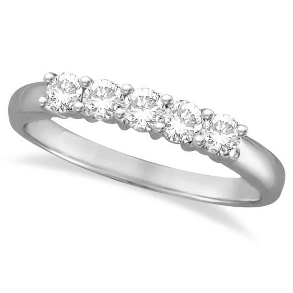 Five Stone Diamond Ring Anniversary Band 14k White Gold (0.50ctw) #PAPPS52227