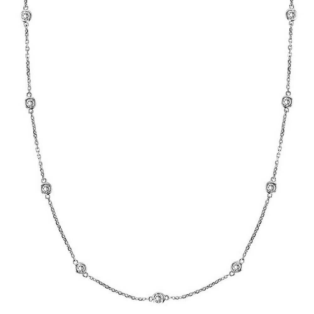 Diamonds by The Yard Bezel-Set Necklace in 14k White Gold (1.00ctw) #PAPPS20381