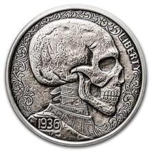 1 oz Silver Antique Round Hobo Nickel Replica (Skulls & Scrolls) #74517v3
